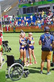 Objetivas triplas de Estonians em Rio2016 Fotos de Stock Royalty Free