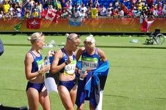 Objetivas triplas de Estonians em Rio2016 Imagem de Stock