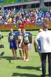 Objetivas triplas de Estonians em Rio2016 Fotos de Stock