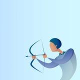 Objetivo Archer Get Goal Concept del arco del control del hombre de negocios Imagen de archivo libre de regalías