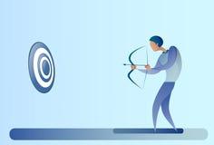 Objetivo Archer Get Goal Concept del arco del control del hombre de negocios Imágenes de archivo libres de regalías