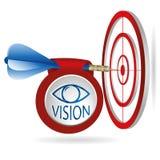 Objetivo azul de la blanco de los dardos Lanzamiento acertado con la bandera de la visión Busi libre illustration