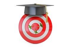 Objetivo da graduação, conceito do alvo da educação, rendição 3D Fotos de Stock