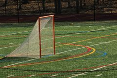 Objetivo da lacrosse em um campo do relvado fotografia de stock royalty free