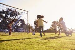 Objetivo de defesa da menina no jogo de futebol com família e amigos imagem de stock