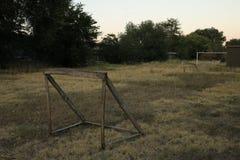Objetivo de madeira do futebol imagem de stock royalty free