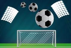 Objetivo do futebol com rede Fotos de Stock Royalty Free