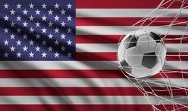 Objetivo do futebol da bola de futebol e bandeira de América 3d-illustration ilustração stock