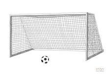 Objetivo do futebol Equipamento de jogo do futebol Llustration tirado mão do vetor Isolado no fundo branco Imagens de Stock