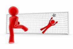 Objetivo; jogadores de futebol Imagens de Stock