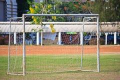 Objetivo no fim do campo de futebol acima Fotos de Stock