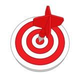 Objetivo rojo de la blanco de los dardos Lanzamiento acertado ilustración del vector