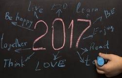 Objetivos da definição do ano novo escritos em um quadro-negro Fotografia de Stock