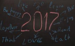 Objetivos da definição do ano novo escritos em um quadro-negro Imagens de Stock Royalty Free
