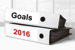 Objetivos 2016 das pastas do escritório Fotos de Stock