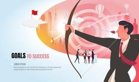 Objetivos de negócios à equipe de ajuda ver2 do negócio do sucesso imagens de stock royalty free