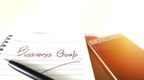 Objetivos de negócios que exprimem o conceito e o móbil em vagabundos do isolado Blurred Imagens de Stock