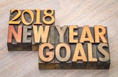 2018 objetivos do ano novo exprimem o sumário no tipo de madeira Fotografia de Stock Royalty Free