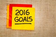 2016 objetivos do ano novo na nota pegajosa Fotografia de Stock