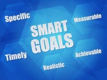 Objetivos e palavras espertos do conceito do negócio nos hexágonos Foto de Stock Royalty Free