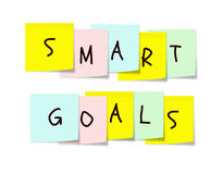 Objetivos espertos em notas pegajosas coloridas Fotos de Stock