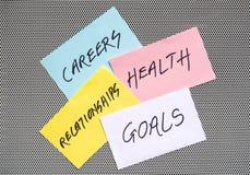Objetivos nas carreiras, na saúde e nos relacionamentos fotografia de stock royalty free
