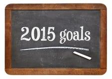 2015 objetivos no quadro-negro Imagem de Stock