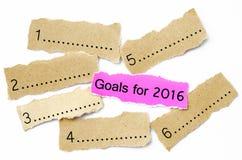 Objetivos para 2016, conceito na parte de papel cor-de-rosa e marrom da folha Imagens de Stock