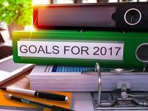 Objetivos para 2017 no dobrador verde do escritório Imagem tonificada 3d Imagem de Stock Royalty Free