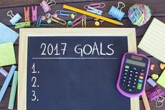Objetivos para o conceito da lista do ano novo 2017 Foto de Stock