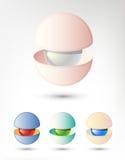 Objeto abstracto 3D similar a una perla en Shell La imagen del vector se podía utilizar como logotipo Fotos de archivo libres de regalías