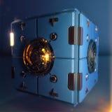 Objeto abstracto del hypercube del techno caja azul del metal con mecanismo pulido brillante del detalle en el centro de cada car Imagen de archivo libre de regalías