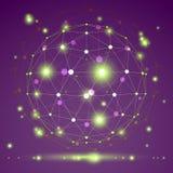 Objeto abstracto del wireframe del vector 3D, EPS claro 10 Imagen de archivo libre de regalías