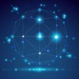objeto abstrato do wireframe do origâmi 3D, projeto do vetor Imagem de Stock