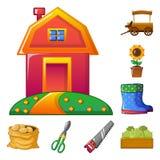Objeto aislado de la granja y del símbolo de la agricultura Colección de símbolo común de la granja y de la planta para el web stock de ilustración