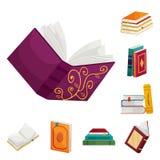 Objeto aislado de la muestra de la biblioteca y de la librer?a Fije del icono del vector de la biblioteca y de la literatura para stock de ilustración