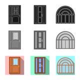 Objeto aislado de la puerta y del logotipo delantero Colección de puerta y de símbolo común de madera para el web libre illustration