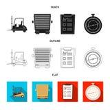 Objeto aislado de mercancías y del icono del cargo Sistema de mercancías e icono del vector del almacén para la acción libre illustration