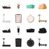 Objeto aislado de mercancías y del logotipo del cargo Colección de mercancías e icono del vector del almacén para la acción ilustración del vector