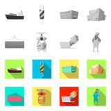 Objeto aislado de mercancías y del símbolo del cargo Sistema de mercancías y del símbolo común del almacén para el web libre illustration