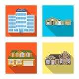 Objeto aislado del edificio y del logotipo delantero Colección de ejemplo común del vector del edificio y del tejado ilustración del vector