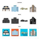 Objeto aislado del edificio y del logotipo delantero Colección de símbolo común del edificio y del tejado para el web libre illustration