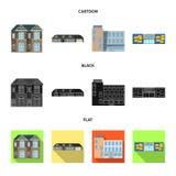 Objeto aislado del edificio y del logotipo delantero Sistema del ejemplo común del vector del edificio y del tejado stock de ilustración