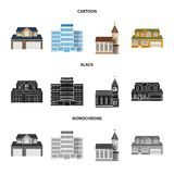 Objeto aislado del edificio y del logotipo delantero Sistema del símbolo común del edificio y del tejado para el web libre illustration