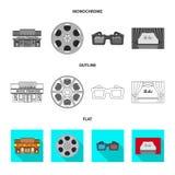 Objeto aislado del icono de la televisión y de la película Colección de televisión y de ejemplo común de visión del vector ilustración del vector