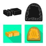 Objeto aislado del logotipo cremoso y del producto Fije de com?n cremoso y el s?mbolo de granja para la web ilustración del vector