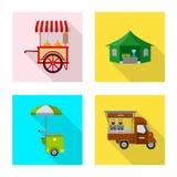 Objeto aislado del mercado y del icono exterior Colección de icono del vector del mercado y de la comida para la acción ilustración del vector