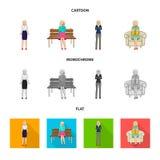 Objeto aislado del s?mbolo de la postura y del humor Fije de postura y del icono femenino del vector para la acci?n ilustración del vector