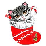 Objeto aislado ejemplo del marcador en un gato blanco y los caramelos del fondo en una media roja de la Navidad stock de ilustración