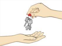Objeto aislado en el fondo blanco La mano de la mujer del agente inmobiliario pasa las llaves al nuevo dueño de la casa Vector Foto de archivo